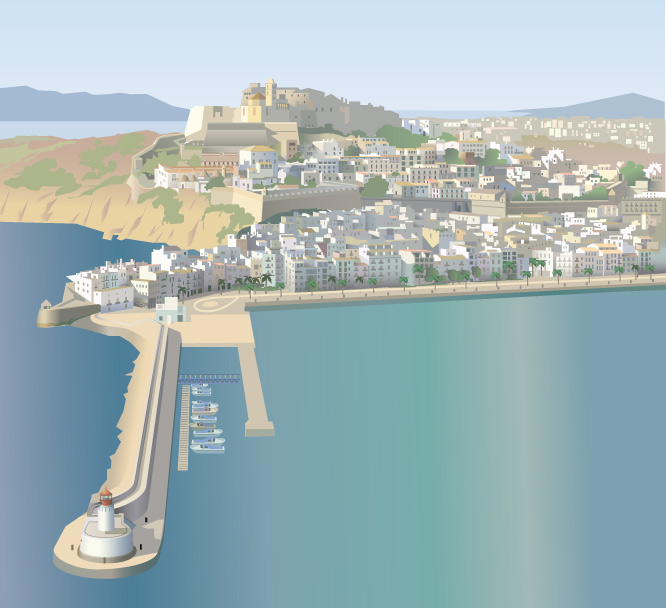 Alzado de la ciudad de Ibiza